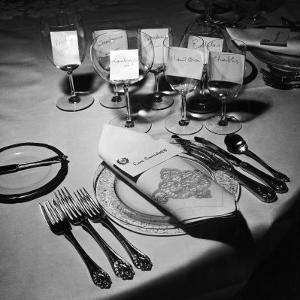 Forks, Knives, Spoons, Wine Glasses and Invitations, Table Settings for Gourmet Dinner Party by Peter Stackpole