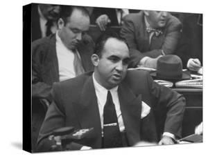 Gangster Mickey Cohen Testifying at Kefauver Hearings During Crime Probe by Peter Stackpole