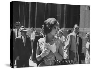 Gina Lollobrigida Walking Down Street by Peter Stackpole