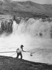 Man Fishing For Salmon in the Columbia River by Peter Stackpole