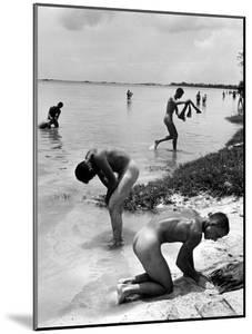 Naked Us Soldiers Bathing in the Pacific Ocean During a Lull in the Fighting on Saipan by Peter Stackpole