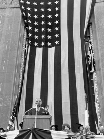 President Harry S. Truman Speaking Against Flag Backdrop During His Re-Election Campaign