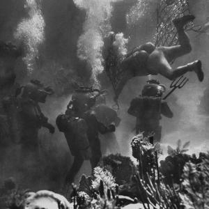 Propman Helping Seaweed Harvest During Underwater Filming of Disney's 20,000 Leagues Under the Sea by Peter Stackpole