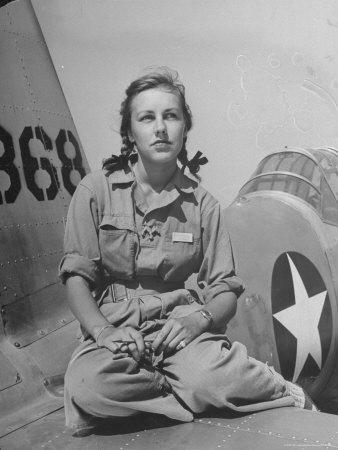 Shirley Slade Pilot Trainee in Women's Flying Training Detachment, Sporting Pigtails, GI Coveralls