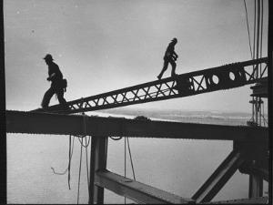 Steel Workers Above the Delaware River During Construction of the Delaware Memorial Bridge by Peter Stackpole