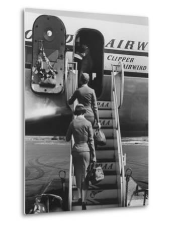 Stewardesses Arriving For Flight
