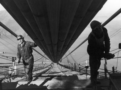 Two Workmen Adding Last Two Strands to Enormous Cables that Supports 6 Lane Golden Gate Bridge