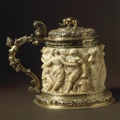 Ivory and Gilded Bronze Tankard Showing Bacchanalia Scene, Circa 1600-1650 by Peter Szumowski