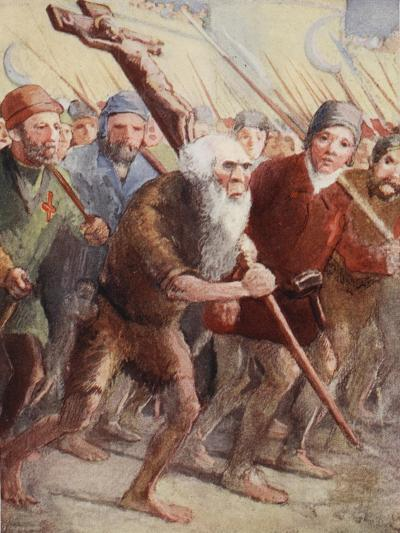 Peter the Hermit Setting Out before the Army Was Ready with His Followers and Walter the Penniless--Giclee Print