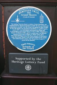 Blue information plaque, Grand Theatre, Blackpool, Lancashire by Peter Thompson