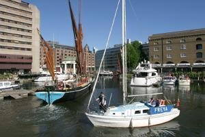 Boats in St Katherines Dock, London by Peter Thompson