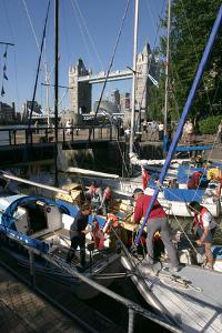 Boats in St Katherines Lock, London by Peter Thompson