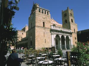 Cathedral and Cafe, Monreale, Sicily, Italy by Peter Thompson