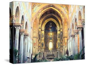 Cathedral Interior with Mosaics, Monreale, Sicily, Italy by Peter Thompson
