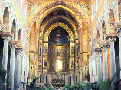 Cathedral Interior with Mosaics, Monreale, Sicily, Italy