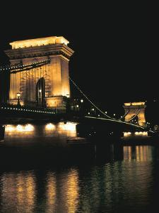 Chain Bridge (At Night), Budapest, Hungary by Peter Thompson