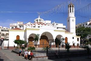 Church in the Town Square, Los Cristianos, Tenerife, Canary Islands, 2007 by Peter Thompson