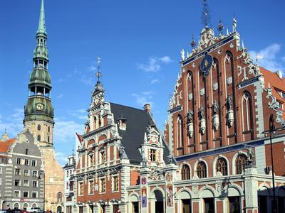 House of Blackheads and St Peters Church, Riga, Latvia
