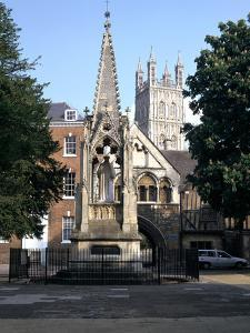 John Hooper Memorial, St Marys Gate and Gloucester Cathedral, Gloucestershire by Peter Thompson