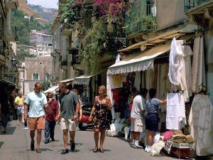Lace Shops, Via Teatro Greco, Taormina, Sicily, Italy by Peter Thompson