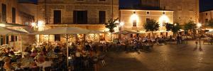 Restaurants in the Placa Major, Pollensa, Mallorca, Spain by Peter Thompson