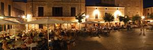 Restaurants in the Placa Major, Pollensa, Mallorca, Spain by Peter Thompson