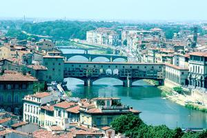 River Arno and Ponte Vecchio from Piazzale Michelangelo, Florence, Italy by Peter Thompson