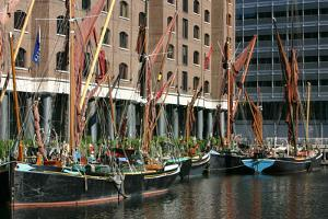 Sailing Barges in St Katherines Dock, London by Peter Thompson