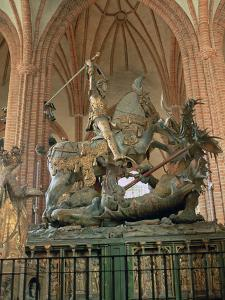 St George and the Dragon Statue, Inside the Storkyrkan Church, Stockholm, Sweden by Peter Thompson
