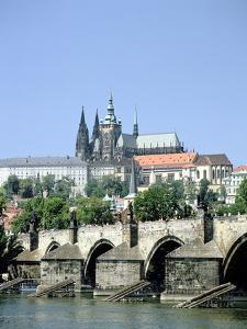 The Charles Bridge the Castle and St Vitus Cathedral, Prague, Czech Republic by Peter Thompson