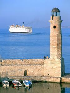 Venetian Lighthouse and the Ferry to Piraeus, Rethymnon, Crete, Greece by Peter Thompson