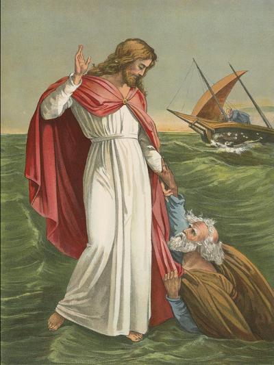 Peter Walking on the Sea-English School-Giclee Print