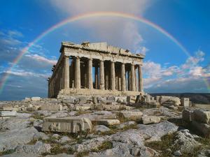Rainbow in Sky, Parthenon, Greece by Peter Walton