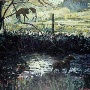 Pony and Dog in a Field, 2000 by Peter Wilson