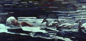 The River:Conrad Lorenz with Goslings, 1982 by Peter Wilson