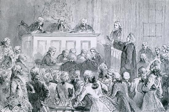 Peter Zenger, in the Dock (At Right), During His Trial for Seditious Libel, 1835--Art Print