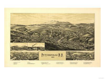 Peterborough, New Hampshire - Panoramic Map-Lantern Press-Art Print