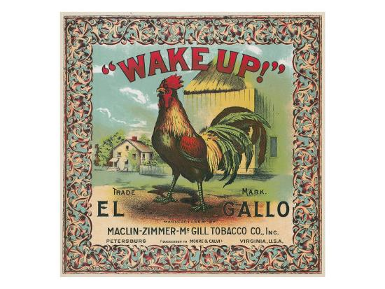 Petersburg, Virginia, Wake Up Brand Tobacco Label-Lantern Press-Art Print