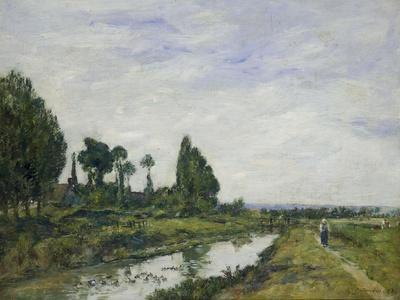 Petit Canal a Quilleboeuf, 1893-Eug?ne Boudin-Giclee Print