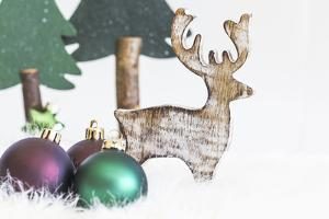 Christmas Decoration, Fir Trees Made of Wood with Reindeer and Christmas Balls by Petra Daisenberger