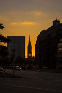 Sundown Shining Through a Window of a Hamburg Church by Petra Daisenberger