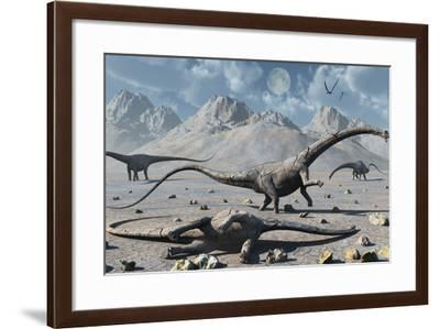 Petrified Diplodocus Dinosaurs from the Jurassic Period-Stocktrek Images-Framed Art Print