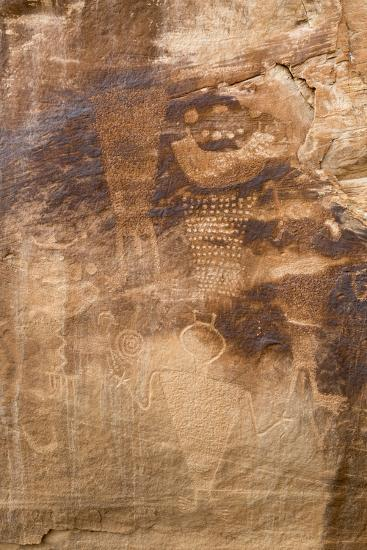 Petroglyph Shapes And Figures Carved Into Sandstone, Dinosaur National Monument-Mike Cavaroc-Photographic Print