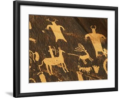 Petroglyphs, Newspaper Rock State Historic Monument, Canyonlands National Park, Utah, USA-David Barnes-Framed Photographic Print