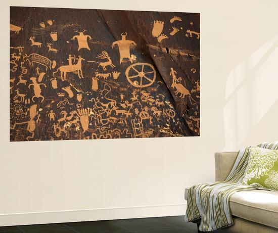 Petroglyphs, Newspaper Rock State Historic Monument, Canyonlands National Park, Utah, USA-David Barnes-Giant Art Print