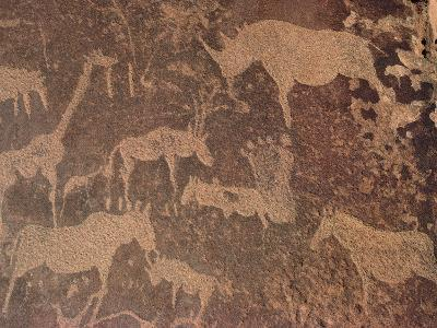 Petroglyphs of Animals Hunted by Bushmen, Twyfelfontein, Namibia-Michael and Patricia Fogden/Minden Pictures-Photographic Print