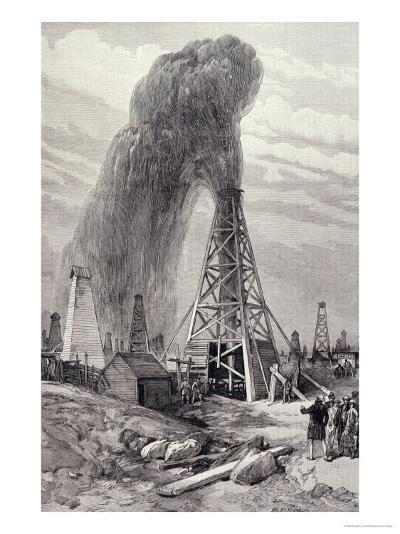 Petroleum Oil Wells, Baku, Caspian: A Fountain of Petroleum Oil, The Illustrated London News, 1886--Giclee Print