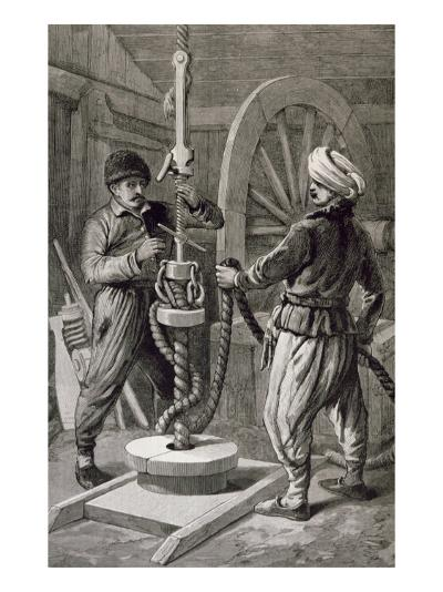 Petroleum Wells at Baku on Caspian: Boring a Petroleum Oil Well, from 'The Illustrated London News'--Giclee Print
