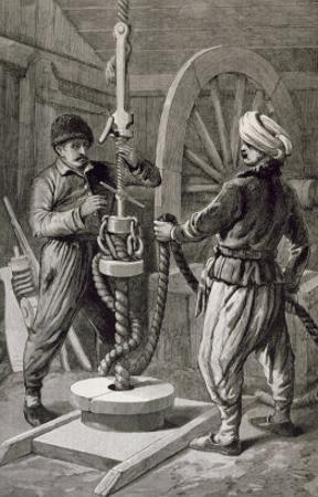 Petroleum Wells at Baku on Caspian: Boring a Petroleum Oil Well, from 'The Illustrated London News'