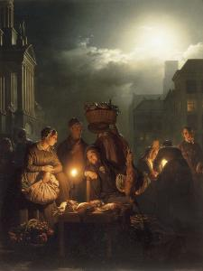 The Poultry Stall in Antwerp at Night by Petrus Van Schendel